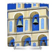 Santorini Bell Tower 2 Shower Curtain