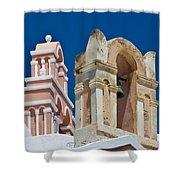 Santorini Bell Towers Shower Curtain