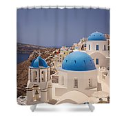 Santorini Blue Domes Shower Curtain