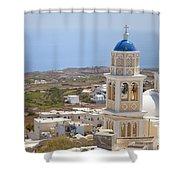 Santorini Church Overlooking The Sea Shower Curtain