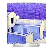 Santorini Houses Shower Curtain
