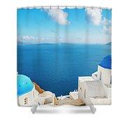 Santorini Island, Greece, Beautiful Shower Curtain