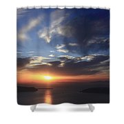 Santorini Sunset Cyclades Greece  Shower Curtain