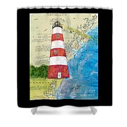 Sapelo Island Lighthouse Ga Nautical Chart Map Art Cathy Peek Shower Curtain
