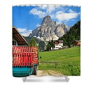 Sassongher Mount From Corvara Shower Curtain