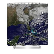 Satellite View Of A Noreaster Storm Shower Curtain