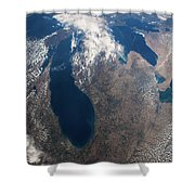 Satellite View Of Great Lakes Shower Curtain