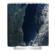 Satellite View Of Lake Michigan Shower Curtain