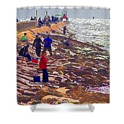 Saturday Morning On The Surfside Jetty Shower Curtain