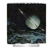 Saturn-y Shower Curtain by Ayse Deniz