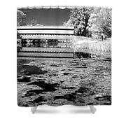Saucks Bridge - Pond - Bw Shower Curtain