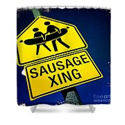 Sausage Crossing Shower Curtain