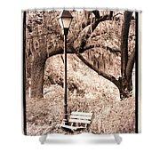 Savannah Bench Sepia Shower Curtain