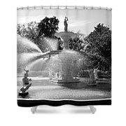 Savannah Fountain - Black And White Shower Curtain
