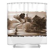 Savannah Fountain In Sepia Shower Curtain