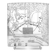 Savannah Siege Map, 1779 Shower Curtain