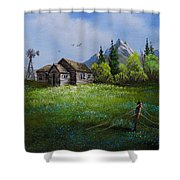 Sawtooth Mountain Homestead Shower Curtain