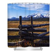 Sawtooth Mountains And Wooden Fence Shower Curtain