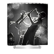 Sax In Black Shower Curtain