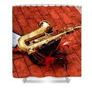 Saxophone Before The Parade Shower Curtain