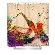 Saxophone  Shower Curtain by Mark Ashkenazi