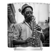 Saxophone Musician New Orleans Shower Curtain