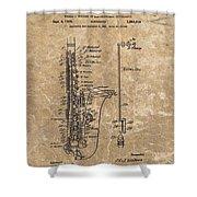 Saxophone Patent Design Illustration Shower Curtain