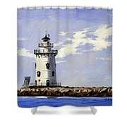 Saybrook Breakwater Lighthouse Old Saybrook Connecticut Shower Curtain