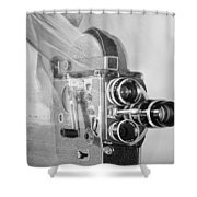 Scarf Camera In Black And White Shower Curtain
