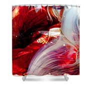 Scarlet Swirls Abstract Shower Curtain