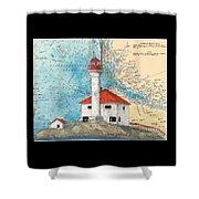 Scarlett Pt Lighthouse Bc Canada Chart Art Shower Curtain