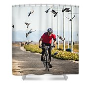 Scattering The Pigeons Shower Curtain