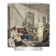 Scene In Bedlam, Plate Viii, From A Shower Curtain by William Hogarth