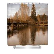 Scenic Golden Wooden Bridge Tree Reflection On The Deschutes River Shower Curtain