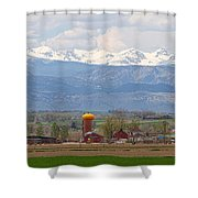 Scenic View Looking Over Anderson Farms Up To Rockies Shower Curtain