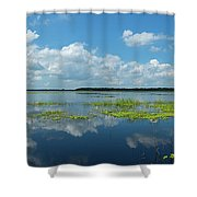 Scenic View Of A Lake Against Cloudy Shower Curtain