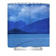 Scenic View Of A Lake At Dusk, Lake Shower Curtain