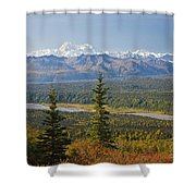Scenic View Of Alaska Range And Shower Curtain