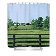 Scenic View Of Horse Farm, Woodford Shower Curtain