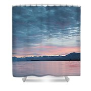 Scenic View Of Lake At Dusk, Lake Shower Curtain