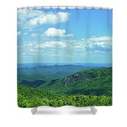 Scenic View Of Mountain Range, Blue Shower Curtain