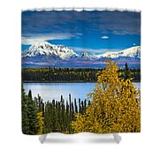 Scenic View Of Mt. Sanford L And Mt Shower Curtain by Sunny Awazuhara- Reed