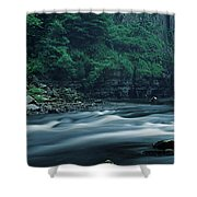 Scenic View Of Waterfall, Teesdale Shower Curtain