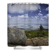 Scenic View With Boulder On Top Of Cadilac Mountain Shower Curtain