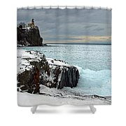 Scenic Winter Lighthouse Shower Curtain