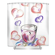 Scented Candle With Love Shower Curtain