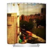 School Bus - New York City Street Scene Shower Curtain