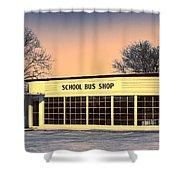 School Bus Repair Shop Shower Curtain