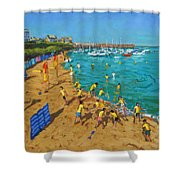 School Outing New Quay Wales Shower Curtain by Andrew Macara