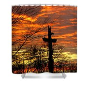 School Totem Pole Sunrise Shower Curtain